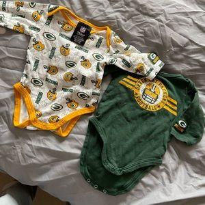 Green Bay Packers 3 baby onesie bundle Cheesehead